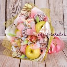 Букет из фруктов, конфет и цветов Нежность