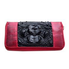 Красно-черный женский кошелек из крокодила и морской змеи