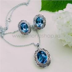 Комплект с синими кристаллами Сваровски Сара