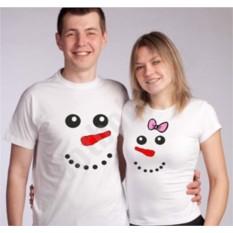 Новогодние футболки для двоих Снеговики