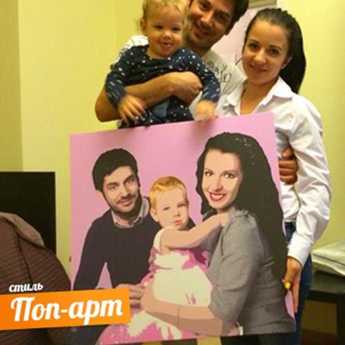 Семейный Поп-Арт портрет на холсте по фото