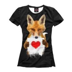 Женская футболка Лиса с сердечком