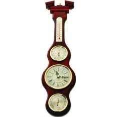 Метеостанция цвета красного дерева с термометром и часами