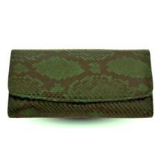 Женский кошелек из кожи питона (цвет - зеленый)