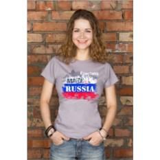 Серая женская именная футболка Патриот