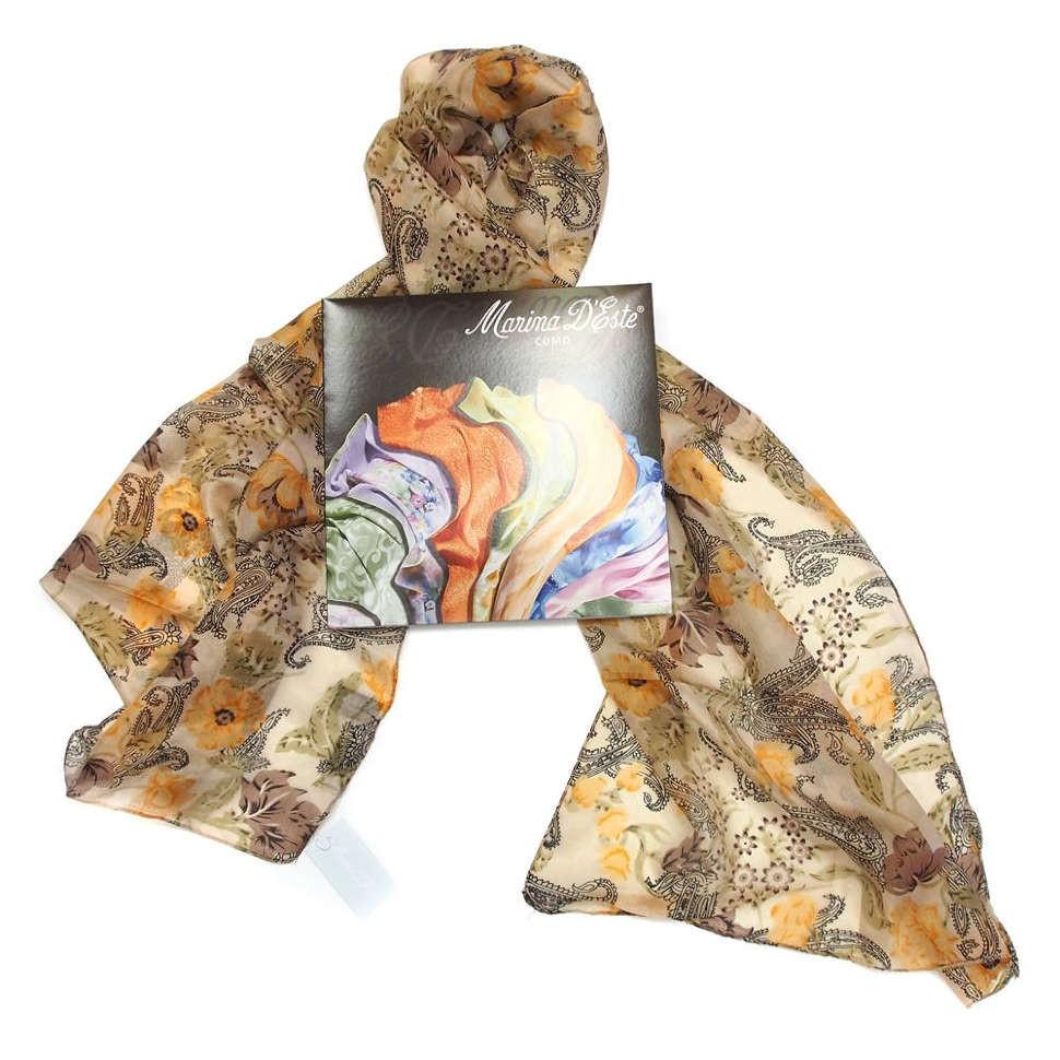 Красивый женский шарф с цветами и пэйсли Marina D'este