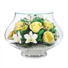 Композиция из белых орхидей и желтых роз