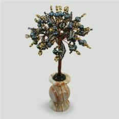 Дерево жизни из черного жемчуга в вазочке из оникса