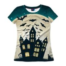Женская футболка 3D Хэллоуин. Замок