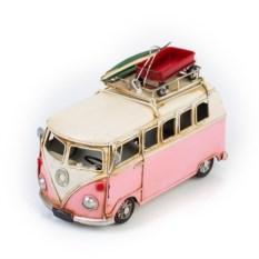 Ретро-модель Бело-розовый автобус с фоторамкой