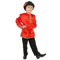 Красная детская косоворотка из атласа