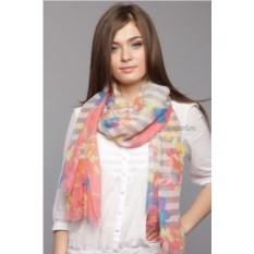 Розово-серый палантин с цветами и полоской Laura Milano