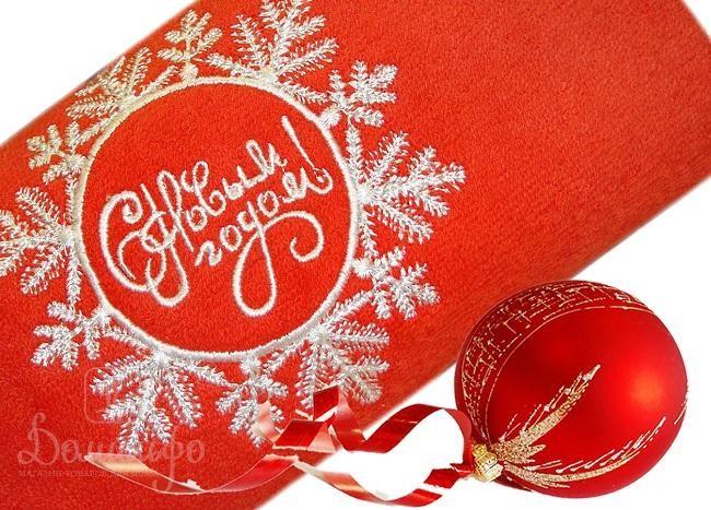 Полотенце с вышивкой Snowflake, красное