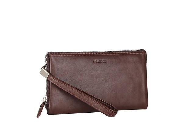 Мужская кожаная сумка Leo Ventoni коричневого цвета