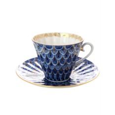 Фарфоровая чайная чашка с блюдцем Незабудка