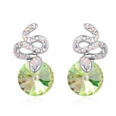 Серьги с кристаллами Сваровски цвета шампань Змейки