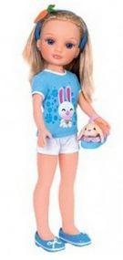 Кукла Нэнси в голубой майке и шортах с питомцем