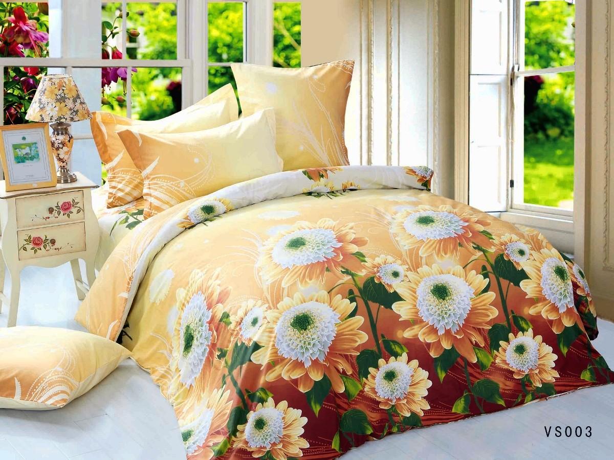 Евро комплект постельного белья, цветы