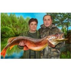 Парный портрет на холсте рыбалка 100x70 см