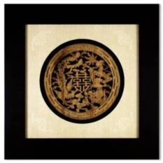 Картина фэн шуй интерьерная Деревянный дракон и феникс