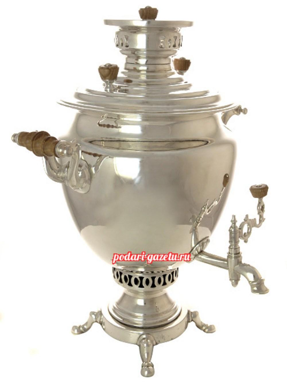 Угольный самовар (жаровой, дровяной) (6 литров) посеребренный получаша