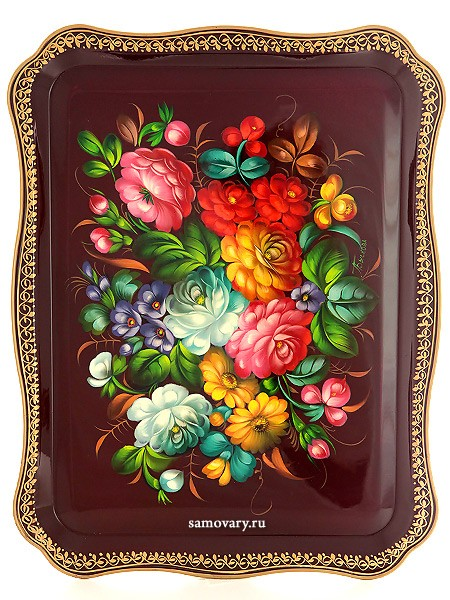 Поднос с художественной росписью Букет