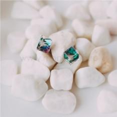 Серьги «Миражи» с зелеными кристаллами Сваровски