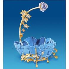 Позолоченная конфетница с ручкой в виде цветка