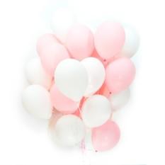 Букет из 100 шаров Бело-розовые шарики