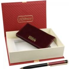 Бордовый подарочный набор Визитница и ручка