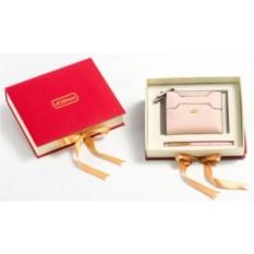 Подарочный набор Ручка и портмоне из экокожи (цвет: пудра)