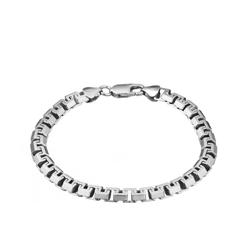 Серебряный мужской браслет, плетение «Якорь сколоченный»