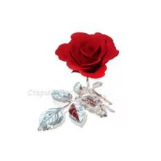 Фарфоровая статуэтка с посеребрением Красная роза на ветке