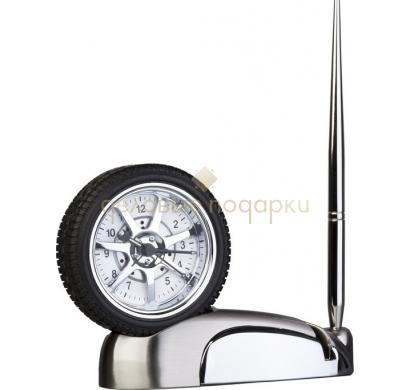 Часы-колесо с ручкой и  подставкой для визиток