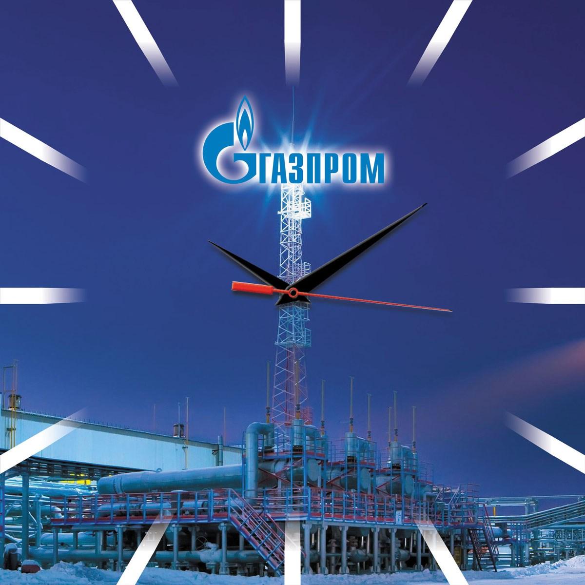 Квадратные сувенирные часы Газпром