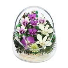 Цветы в стекле: Композиция из натуральных орхидей