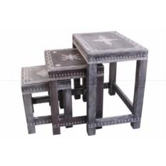 Набор из трёх деревянных стол-табуретов с росписью