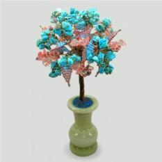 Семейное дерево из бирюзы и халцедона в вазочке из оникса