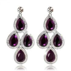 Серьги под серебро с фиолетовыми стразами Mia Collection