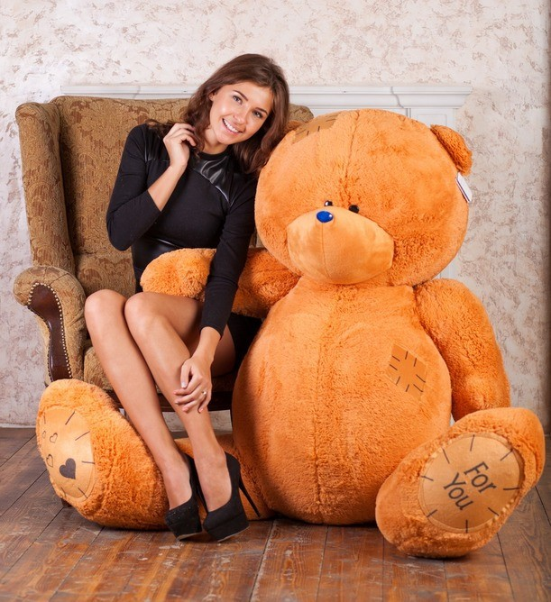 Плюшевый мишка Тедди (карамельный), 190 см.