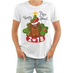 Мужская футболка с собакой Happy new year!