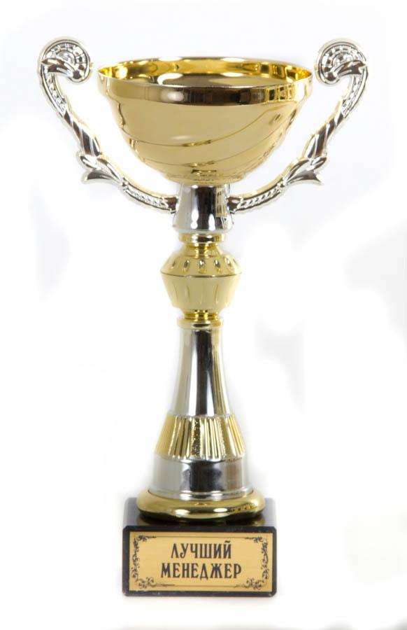 Подарочный золотой кубок-чаша с ручками Лучший менеджер