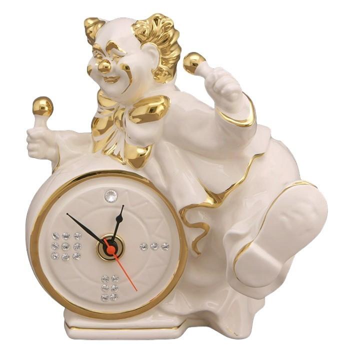 Часы из керамики Клоун с барабаном Ahura