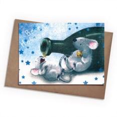 Поздравительная открытка Новогодние мыши