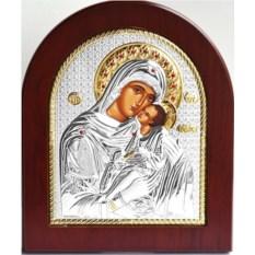 Икона Божьей Матери в серебряном окладе Сладкое лобзание