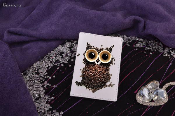 Кожаная обложка на паспорт «Кофейная сова» Elole Design