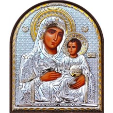 Иерусалимская икона Богородицы в серебряном окладе