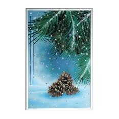 Картина из кристаллов Swarovski Шишки в зимнем лесу