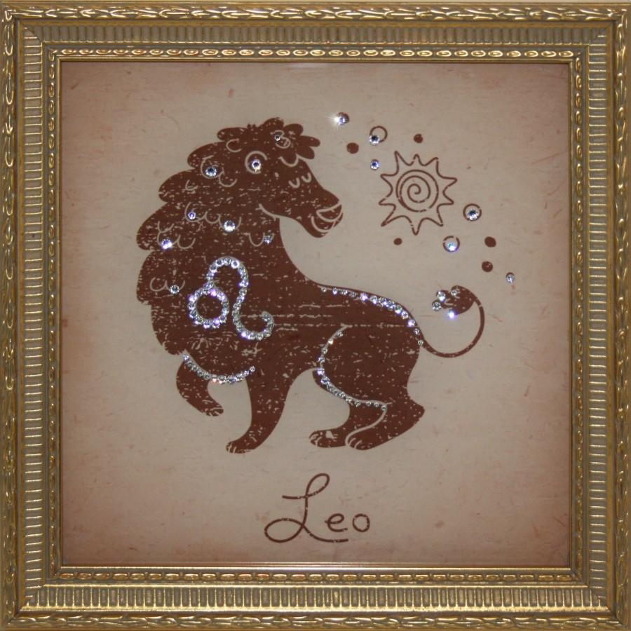 Картина с кристаллами Swarovski Лев