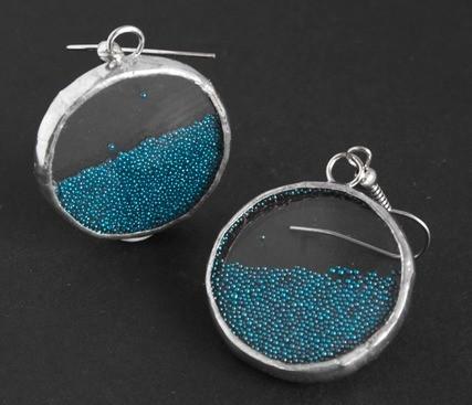 Серьги круглые Микробисер (голубой) (пара)